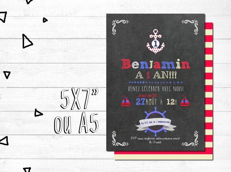 Carte d'invitation anniversaire personnalisée - FICHIER NUMÉRIQUE_fête garçon, rouge et bleu, nautique, bateaux, chalkboard par MOMYboutique sur Etsy https://www.etsy.com/ca-fr/listing/472252651/carte-dinvitation-anniversaire