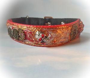 Eclectic Steam Punk Dog Collar. 💀 A Conversation Piece. Handpainted. Red,black. | eBay