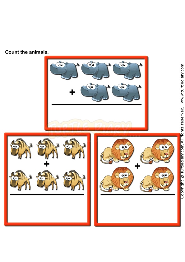 Picture Addition 6 - math Worksheets - preschool Worksheets