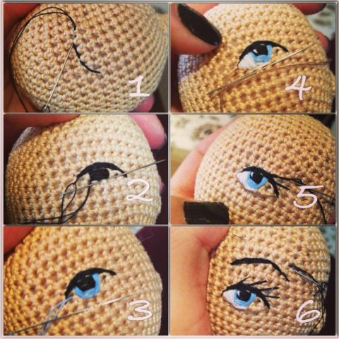 Embroidered eyes for amigurumi dolls - tutorial.