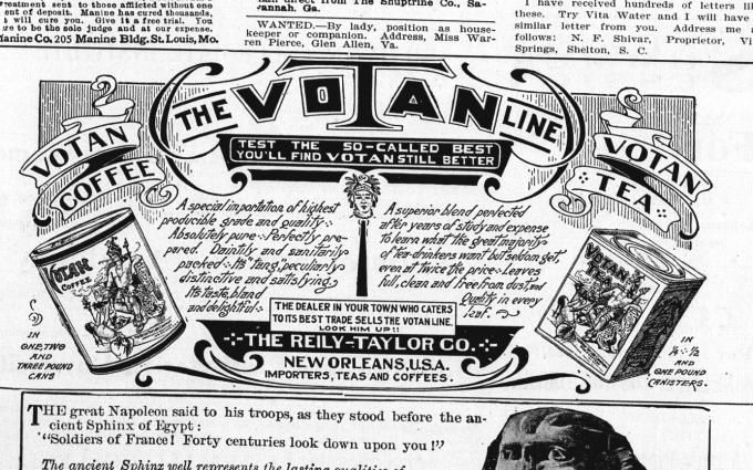 Votan Coffee and Tea.............................The Presbyterian of the South : [combining the] Southwestern Presbyterian, Central Presbyterian, Southern Presbyterian. (Atlanta, Ga.) 1909-1931, April 20, 1910, Page 511, Image 32