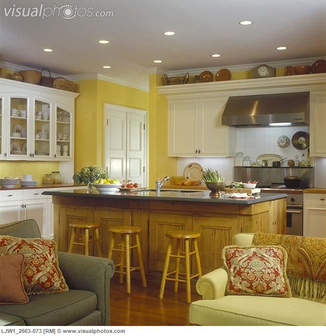 White Kitchen Cabinets Yellow Walls: KITCHENS - View From Family Room