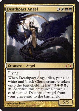 Deathpact Angel - Magic: The Gathering - Return to Ravnica Block; Gatecrash set. Always fun and interesting to see multicolored Angels
