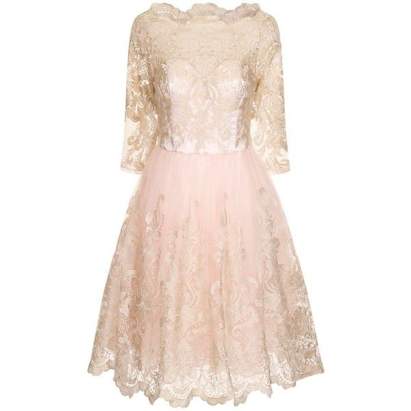 Chi Chi London Baroque Style Tea Dress ($115) ❤ liked on Polyvore featuring dresses, kleider, pink metallic, women, baroque style dress, tea party dresses, baroque dress, baroque print dress and 3/4 length sleeve dresses