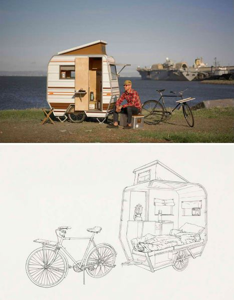 The 'Little Tag Along' camper is a design by Kevin Cyr, with the look of a conventional camper shrunk down to bike-size. Pulled by a vintage 3-speed bicycle, Little Tag Along contains the minimum that you'd need to hunker down for the night on a regular basis – just a bed and a little bit of storage space.