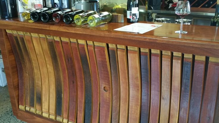Bar front from old barrels Firetail Wines Margaret River WA