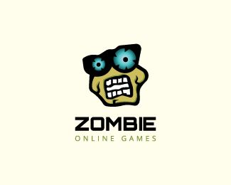 Stylized logo in the shape of a zombie head with green, blue and black colors.( logo for sale, company logo, zombie, game, mascot, monster, bad, spooky, angry, online, halloween, legend, zombie games, zombie apocalypse, games online, logo).