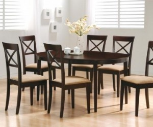 Cappuccino Oval Dining Table:  Boards, Dining Rooms, Cappuccinos Finish, Contemporary Oval, Oval Dining Tables, Kitchens Tables, Coasters Contemporary, Home Kitchens, Dining Sets
