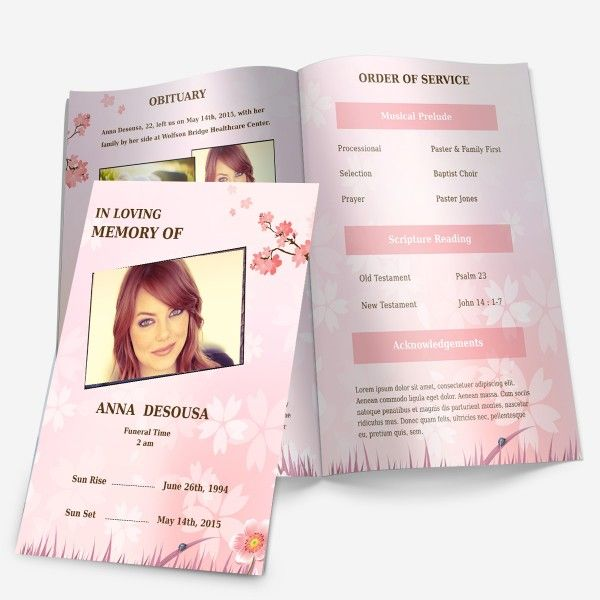 Cherry Blossom memorial program template at FuneralPamphlets.com. Many more funeral service program templates to choose from!