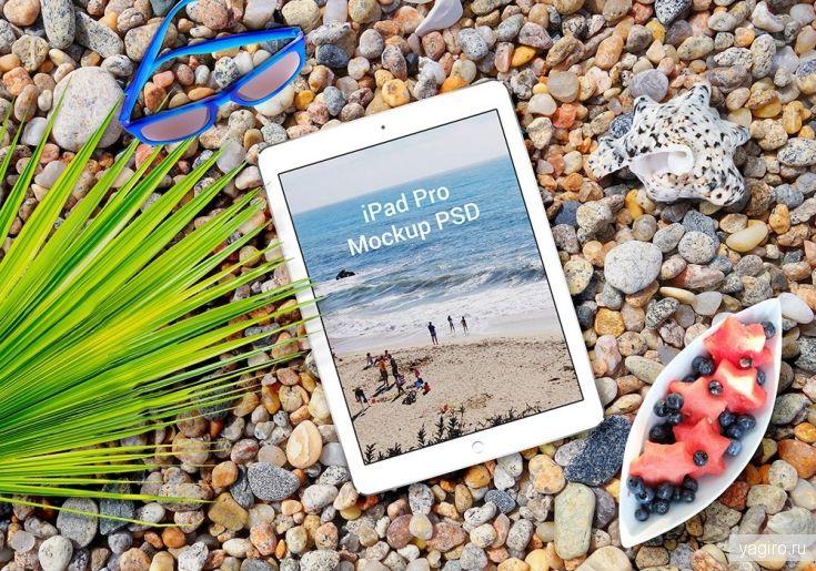 Mockup IPhone 6s Plus и IPad Pro на пляже / Мокапы / Yagiro - сайт о дизайне и для дизайнеров