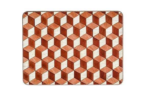 6 Large Placemats orange red Large Place mats Geometric