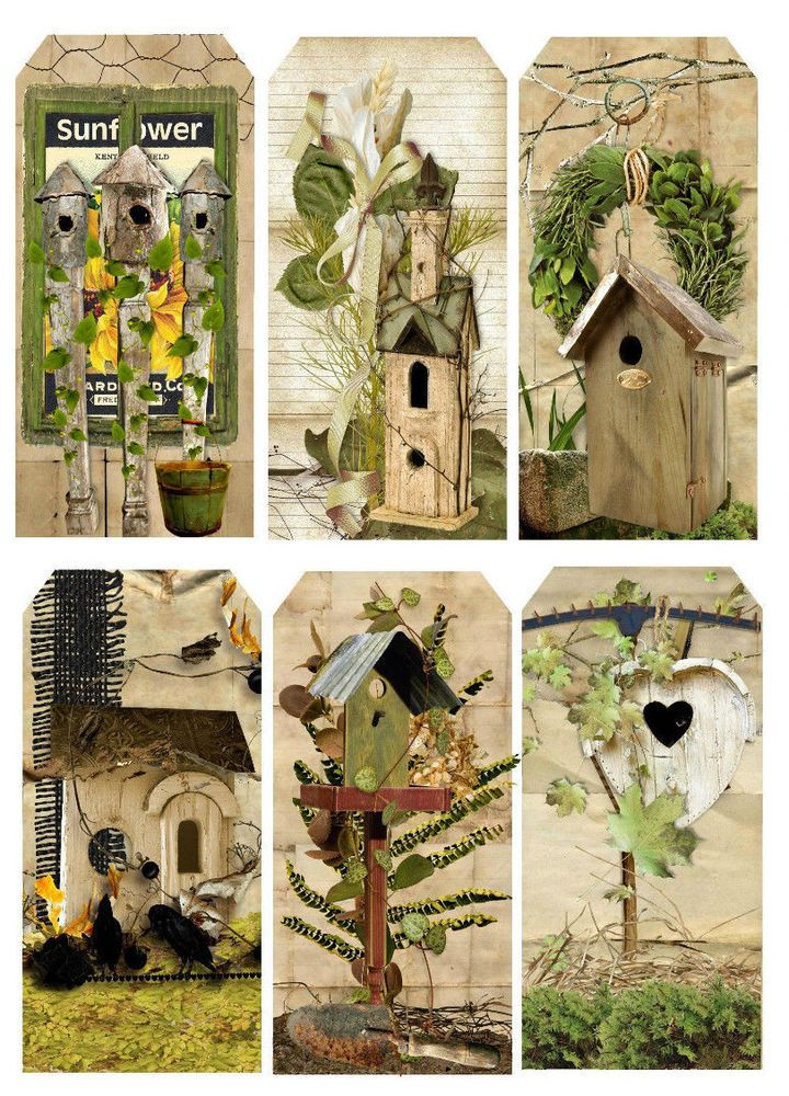 SPRING BIRDHOUSE GARDENING (20) SCRAPBOOK CARD EMBELLISHMENTS HANG/GIFT TAGS #CROPPINROBIN72