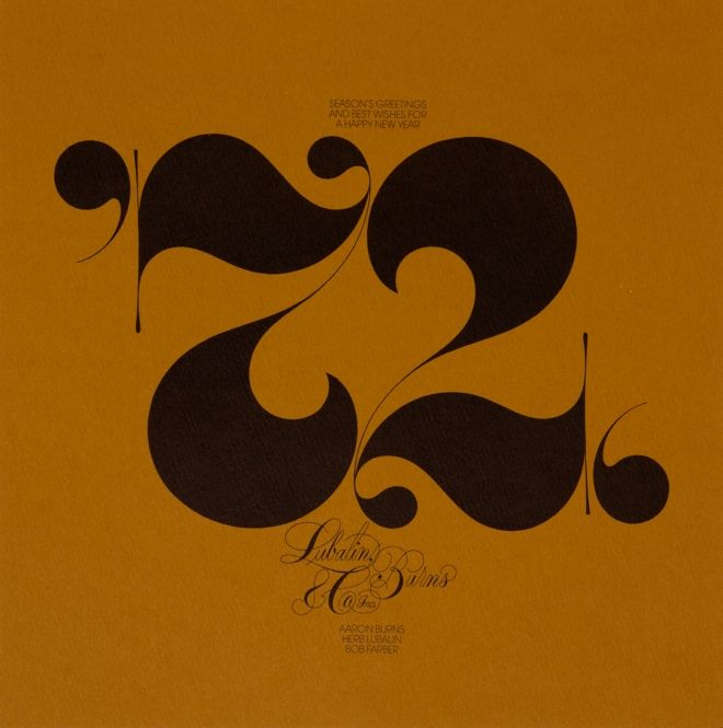 HERB LUBALIN, 1972 HOLIDAY CARD: from lubalin, burns, & co.; new book on lubalin's career available soon.