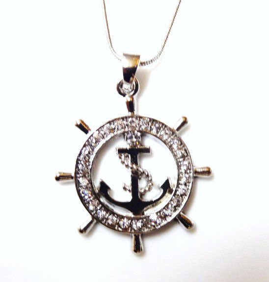 Nautical Ship Wheel and Anchor Pendant. Great Gift for #NavyMom # Jewelry #Navy #Anchor