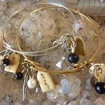 black obsidian gemstone crystal affirmation bangle bracelet handmade noosa