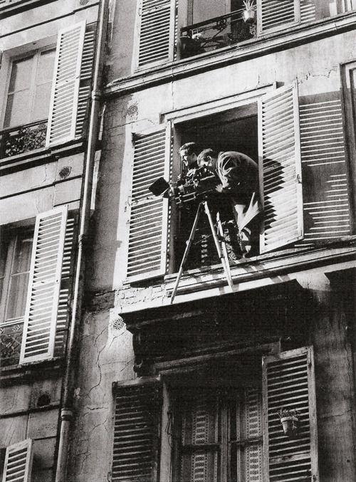 "Truffaut on the set of his short film ""Antoine et Colette"""