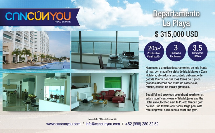 La Playa Condo $315,000 USD  Condos for Sale in Cancun  Description:  Beautiful and spacious beachfront apartments , with magnificent views of Isla Mujeres and the Hotel Zone, located next to Puerto Cancun golf course. Two towers of 6 floors, large pool with retaining wall, dock, tennis court and gym.