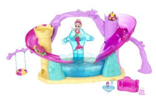 Polly Pocket Race and Splash Playset by Mattel. $15.75. Also has a trapdoor to reveal a secret shortcut to the pool and a seat that turns into a dunk tank. Polly and her cutant friends are ready to race down the dual slides. Features lounge area, inner-tube swing, Cutant hidey-holes and Cutant lookout spots. Includes color changing Polly, cutants, and 2 playset slides making it more colorful than ever. Girls will love all the color changing action. From the Manufacturer  ...