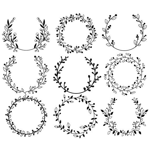 Flower Wreath – Clipart & Vector Set – Instant Download – Personal and Commercial Use – Silhouette