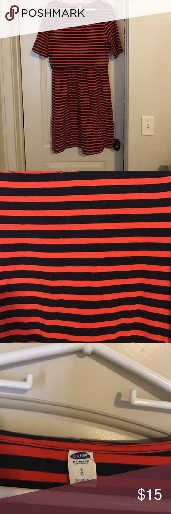 Red/orange and navy striped dress. Good condition. Red/orange and navy striped dress from Old Navy. Good condition. Only worn a handful of times. Old Navy Dresses Midi