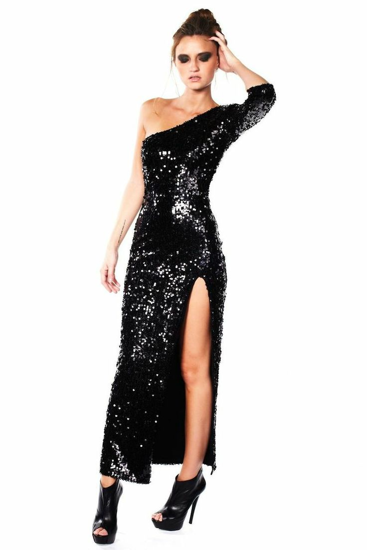 Black Sequin One Shoulder Gown #partydress #nye #nyedress