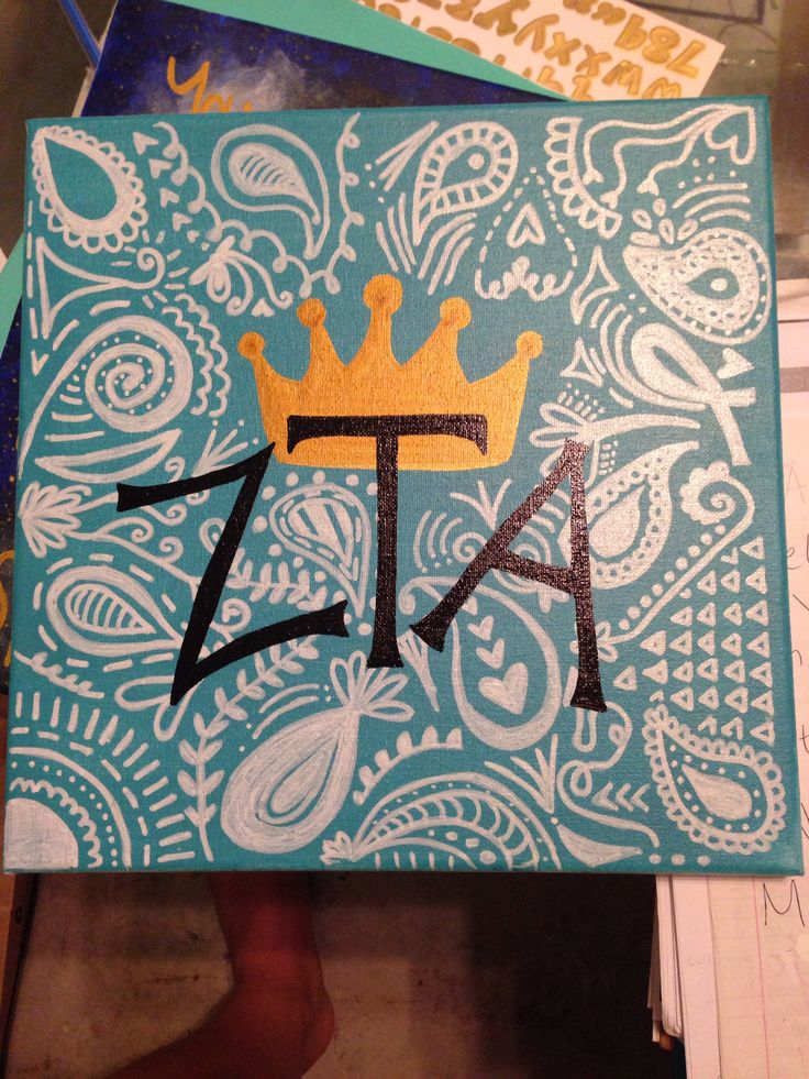 Zeta Tau Alpha canvas painting present
