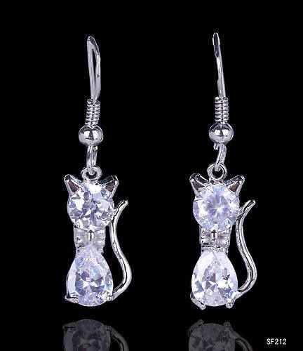 925 Silver Plated Cat Drop Earring Clear Crystal