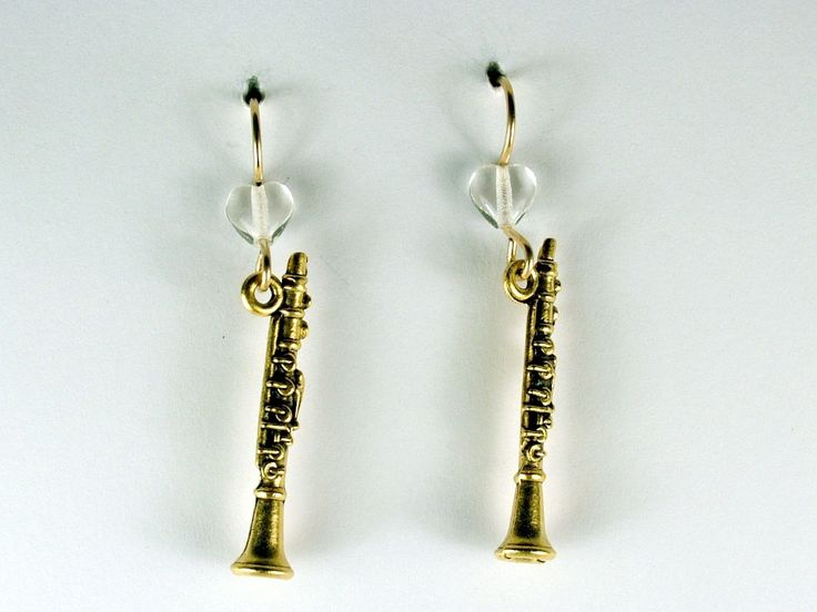 Gold tone Pewter & 14k gf clarinet earrings-music, woodwinds, marching band