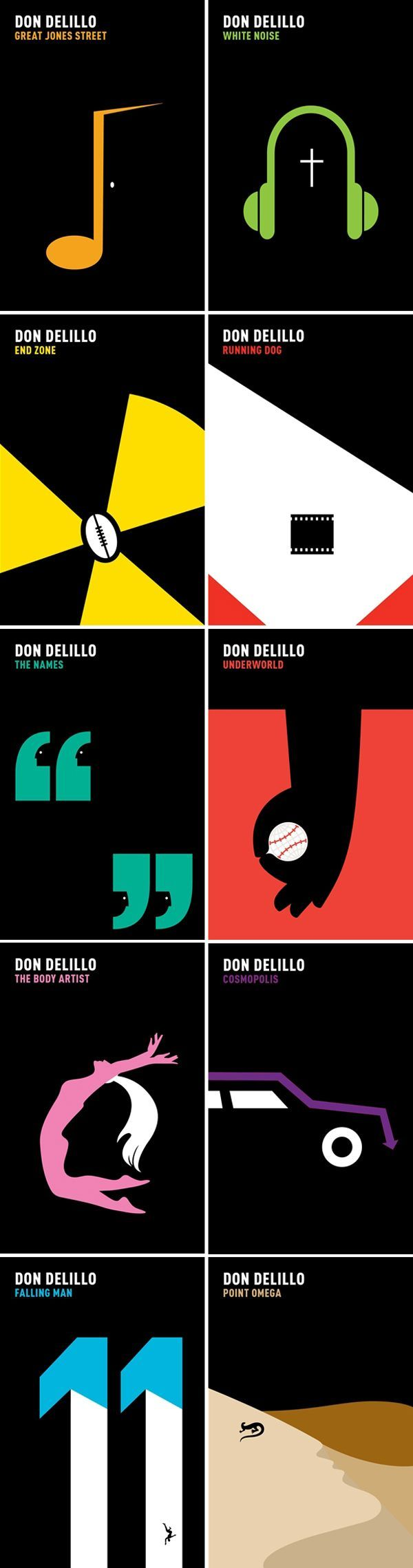 Don DeLillo's backlist, art directed and designed by It's Nice That with illustrations by Noma Bar. Published by Picador, 2011.