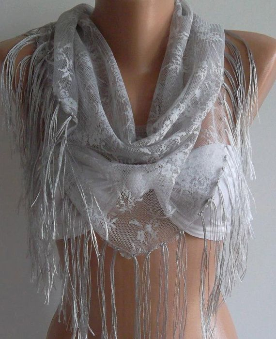 GREY / LACE AND ELEGANCE SHAWL / SCARF  WITH LACE EDGE BY WOMANN, $18.90