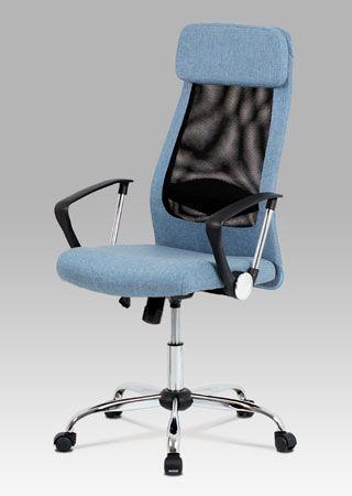 KA-E302 BLUE  Kancelářská židle potažená modrou látkou v kombinaci s látkou MESH.