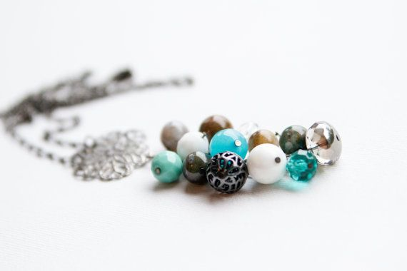 Blue Bead Cluster Necklace with Metal Charm by MaddyandCo on Etsy