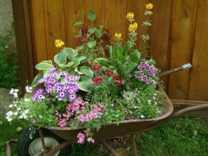 Flower Garden Ideas With Old Wheelbarrow best 20+ wheelbarrow planter ideas on pinterest | wheelbarrow