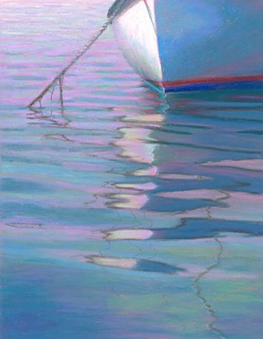 Calm Mooring, Boat Reflection Pastel Painting by Poucher, painting by artist Nancy Poucher