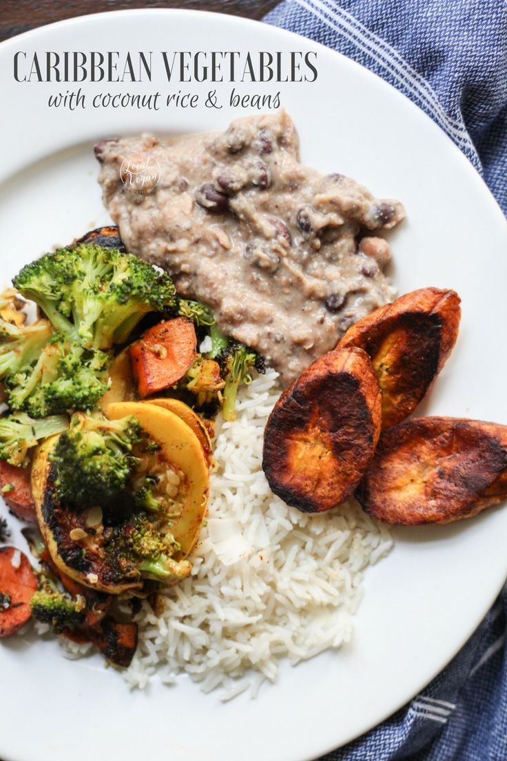 Caribbean Vegetables with Coconut Rice - Healthy #Vegan Dinner Recipes - #plantbased #cleaneating