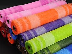Huge selection of floral mesh wrap in various sizes with 50 plus colors. .These elegant floral deco mesh netting really sparkle your special occasion. High quality poly Ribbon, natural Jute mesh, cotton mesh is available at discounted, wholesale rates.