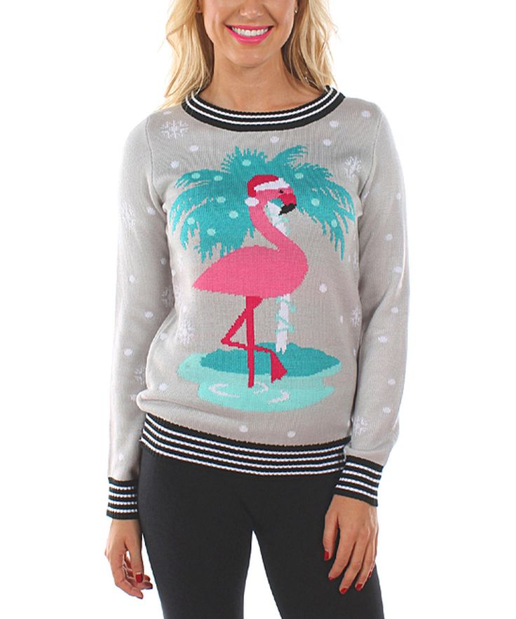 Love this Tipsy Elves Gray Flirty Flamingo Sweater - Women by Tipsy Elves on #zulily! #zulilyfinds