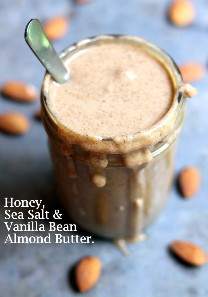 SO delicious! Learn how to make your own Homemade Almond Butter with Vanilla Bean, Honey & Sea Salt