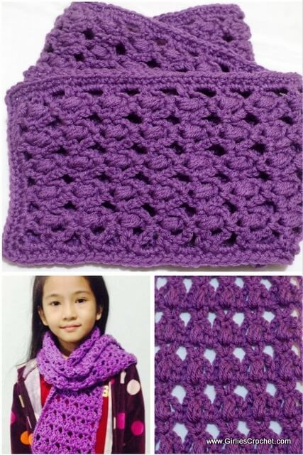 rosary crochet scarf, free crochet pattern, puff stitch, easy