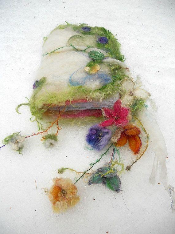 felted wool journal art book  - enchanted forest art diary - florabunda dream fantasy journal