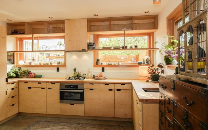 birch ply kitchen cabinets small kitchen with plywood cabinets and oak countertops 12297