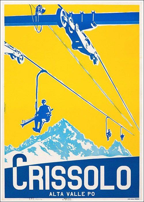 Manifesto Crissolo #travel #poster #vintage montagna neve piemonte www.postrerimage.it