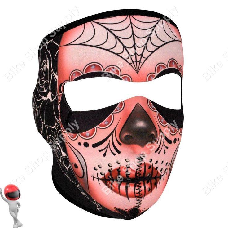 2 in 1 Reversible Motorcycle Biker, Ski Mobile Neoprene Face Mask - Sugar Skull