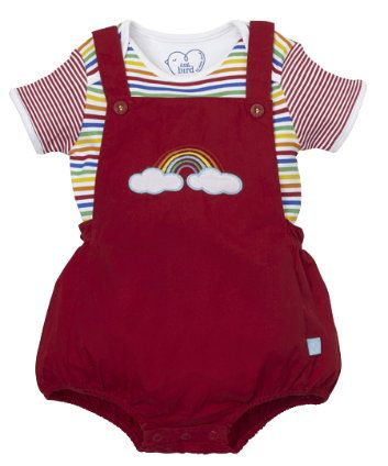 Little Bird by Jools Novelty Bibshorts Set. An adorable two-piece novelty bibshorts set, featuring a bright rainbow of colours.