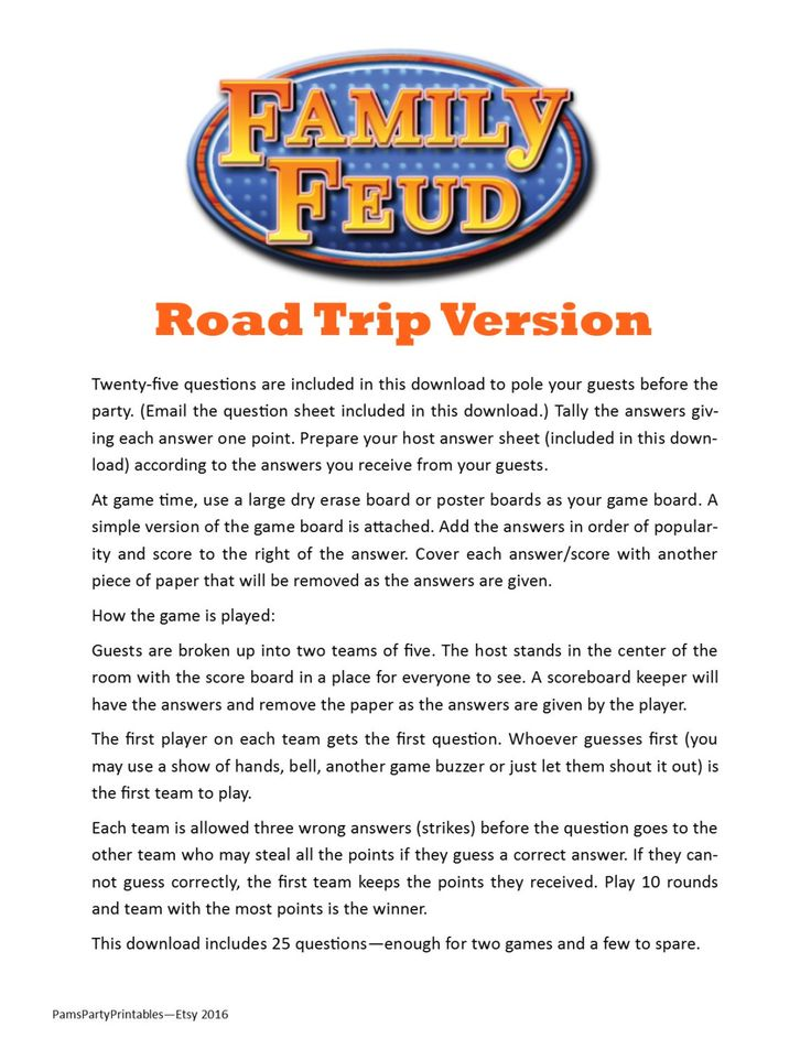 Road Trip Family Feud - Printable Game -  Game to Play in the Car -  Vacation Game - Travel Game Instant Download by PamsPartyPrintables on Etsy https://www.etsy.com/listing/471100119/road-trip-family-feud-printable-game