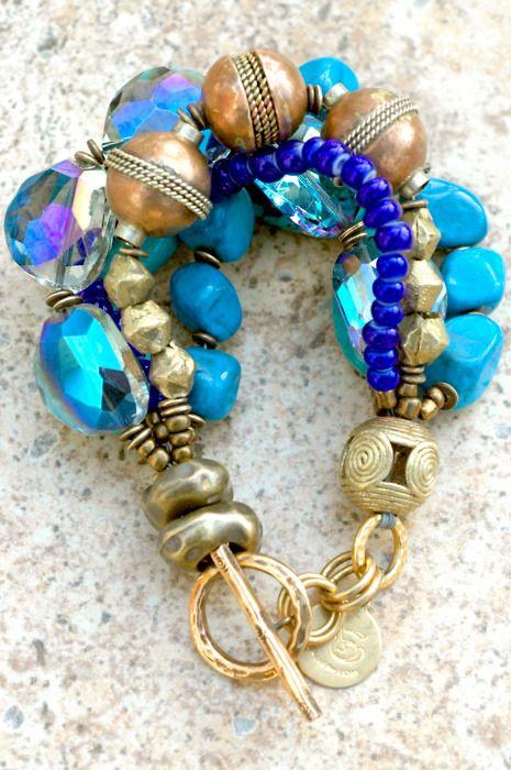 Cyprus Bracelet:Lush Turquoise, Shimmer Czech Blue Glass, Cobalt and African Copper Multi-Strand Bracelet