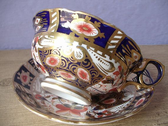 Antique Hammersley & co English imari tea cup and saucer set, hand painted blue and gold tea cup, antique china tea set