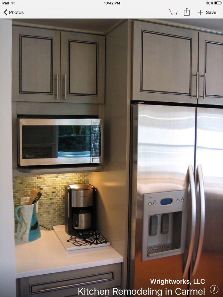 microwave on shelf