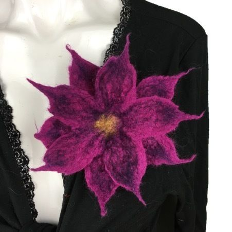 Wet felted double layer flower corsage, brooch, lapel pin, scarf pin in magenta