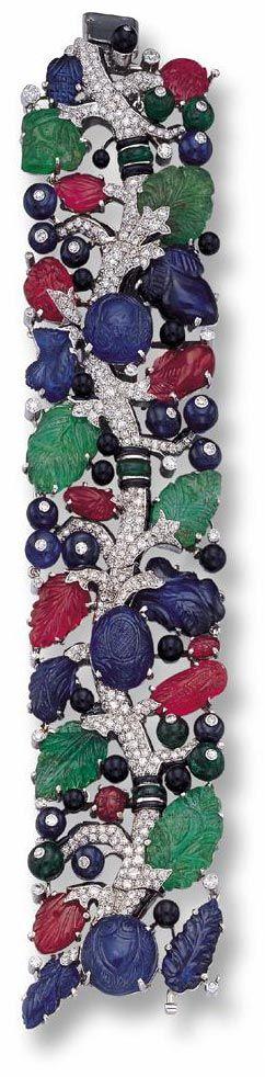 Tutti-Frutti or Fruit Salad bracelet of Cartier, Deco 1920's-Early 30's.